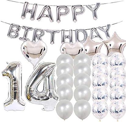 Globos de látex con diseño de número 14 para decoración de ...