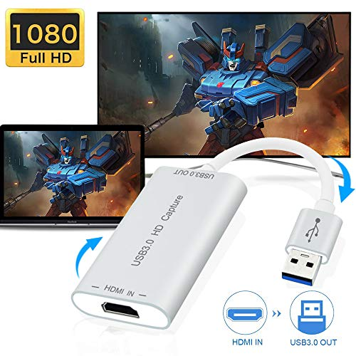 DIWUER Capture Card, 4K HDMI to USB 3.0 Video Capture Device, 1080P HD 60fps Broadcast Live and Record Video Audio Grabber for Xbox One PS4 Wii U Nintendo Switch PC