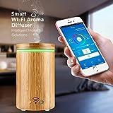 Aroma Diffuser ONEVER 160ml Bamboo Wi-Fi Smart Aroma Diffuser APP Remote Control Voice