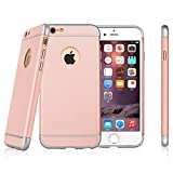 Yxim iPhone 6/6s Case,Ultra-thin 3in1 Anti-Scratch Anti-fingerprint Shockproof Resist Cracking Electroplate Metal Texture Armor PC Hard Back Cover & Skin for Apple iPhone 6/6s 4.7 Inch (Rose Gold)