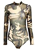 FetiWear Diana Army Camouflage Long Sleeves Collared Teddy Leotard With Back Zipper