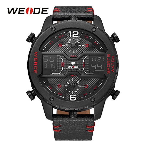 Weide Mens 3 Time Zone Analog Lcd Display Sport Digital Red Calendar Date Day Quartz Leather Band Wristwatch