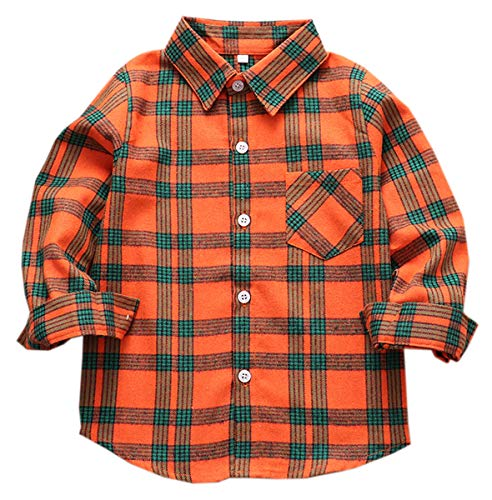 - Boys' Shirt, Button Down Short Sleeve Plaid Flannel Shirt for Kids Toddlers Little & Big Boys Girls, Flannel# Orange + Green, 3-4 Years = Tag 110