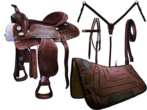Tahoe Tack Warehouse Clearance Closeout Basket Weave Tooled Western Leather Pleasure Saddle Set (17