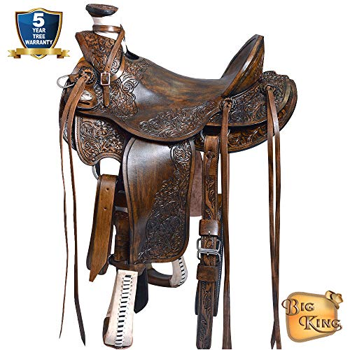 HILASON BIG KING SERIES WESTERN LEATHER WADE RANCH ROPING COWBOY TRAIL HORSE ()