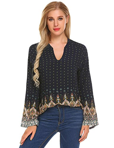 Mofavor Women's Casual Floral Print V Neck Bell Sleeves Blouse Tops Blue S