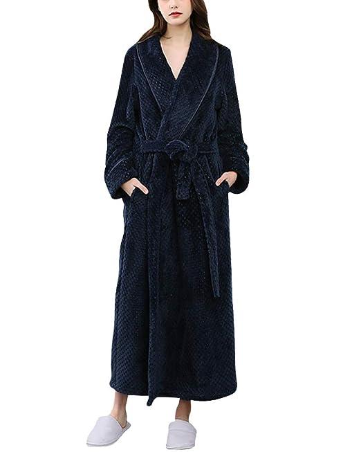 Ropa De Hogar Mujeres Y Hombres Invierno Fluffy Homewear Largo Bata De Casa Pijama De Franela: Amazon.es: Ropa y accesorios
