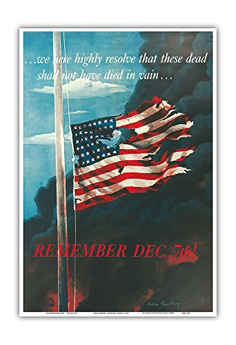 Pacifica Island Art Remember December 7th! - In Remembrance of the Japanese Attack on Pearl Harbor, Honolulu, Hawaii - Vintage War Poster by Allen Saalburg c.1942 - Master Art Print (1939 Bouquet)