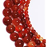 LK-CRAFTS Natural Smooth Polish Red Carnelian Agate Gemstone Round Loose Beads For Jewelry Making Findings /Accessories 1 Strand 15.5 inches - 10mm