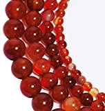 LK-CRAFTS Natural Smooth Polish Carnelian Agate Gemstone Round Loose Beads For Jewelry Making Findings /Accessories 1 Strand 15.5 inches - 8mm