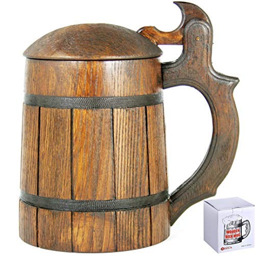 Men. Craft IPA Beer Drinking Cup. Pint Wood Stein. Viking Ale Mead Dad Tankard Handle. Funny Fathers Day Tumbler, Birthday Anniversary Gifts. Cute Man Cave Decor, Party Accessories ()