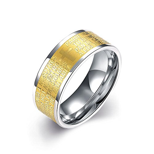 [Men's Bible Lords Prayer Rings 8MM 18k Gold Plated 316L Titanium Stainless Steel Outlined Cross Engagement Promise Rings Wedding Bridal Rings Bands High Polished Finish Comfort Fit Size,] (Homemade Wolf Costumes For Kids)