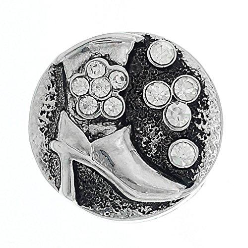 Souarts Bouton à Pression pour Bracelet Strass Motif Chaussures à Talon Haut Rond