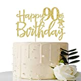 MaiCaiffe Gold Giltter Happy 90th Birthday Cake Topper,Hello 90 Cheer to 90 Years,90 & Fabulous Party Decoration