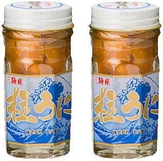 宏八屋 岩手県産 粒うに(塩ウニ) キタムラサキウニ ビン詰 60g 2本セット