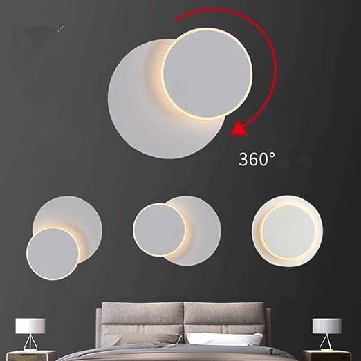 Appliques LED,Applique Murale Rotative à 360 Degrés,Lampes Chevet,Créatives Eclipse 2 en 1 Applique pour Couloir Escalier Salon Salle Coucher (Blanc)