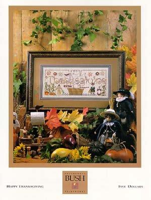 Patterns Cross Shepherds Bush Stitch - Happy Thanksgiving Cross Stitch Chart and Free Autumn Embellishment