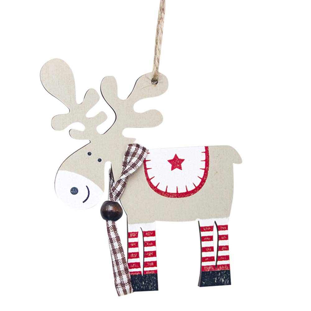 ZOUMOOL Big Sale! Wooden Xmas Painted Elk Pendant Crafts Christmas Tree Decoration Hanging Ornament Festival Christmas Decorations (Beige)
