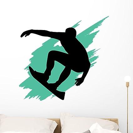 Amazon Com Wallmonkeys Wm1778 Surfing Silhouette With Teal