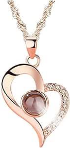 Yandam 100 Languages I Love You Projection Necklace Personalized Customized Photo Promise Necklace