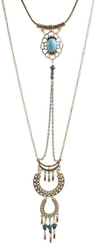 GuDeKe Bohemia de Las Mujeres de la Borla de la Turquesa Doble suéter Largo Collar Colgante de Cadena de 43-76cm (Ajustable)