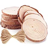 Caydo 10 Pieces 3.15-3.94 Inch Unfinished Predrilled Wood Slices Thickness of 0.8cm Solid Round Log Discs and 33 Feet Natural Jute Twine for Christmas Ornaments Decorations