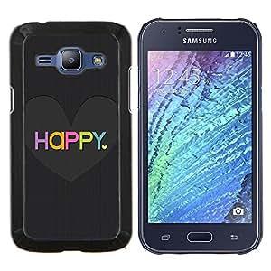 Eason Shop / Premium SLIM PC / Aliminium Casa Carcasa Funda Case Bandera Cover - El amor del Corazón Negro cepillado colorido - For Samsung Galaxy J1 J100