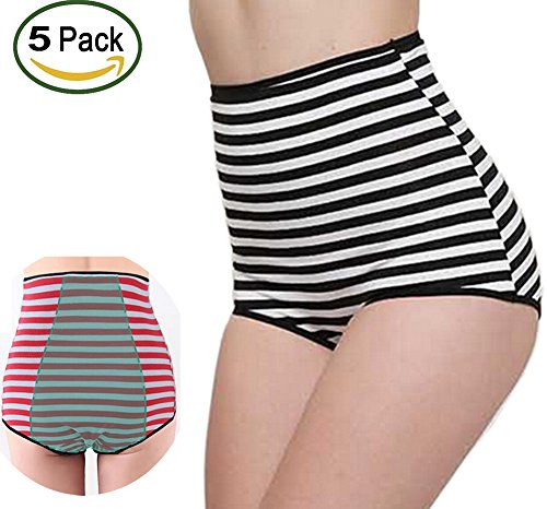 5 Pack Warmword Womens High Rise Cotton Menstrual Period Panties Large M-3X (2X)