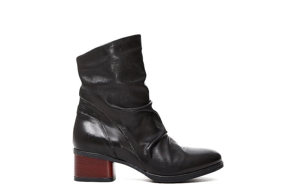 CAF schwarz HD204 schwarze Stiefel Buchse Reißverschluss Frauen, Leder niedrige Ferse 37