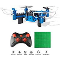 NiGHT LiONS TECH N912 DIY Building Block 2.4GHz 6-Axis Gyro Headless Mode One Key Return trick roll function Remote Control Drone, Build it Yourself and Fly,Mini Detachable RC Quadcopter ( Blue )