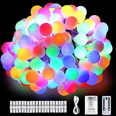 Anpro 80LED 8M Cadena de Luz,Guirnalda Luces Luminosas Decorativas para Exterior,Interior,Jardín, Habitación, Fiestas,Boda,Cumpleaños, 8 Modos Luces ...