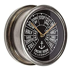 Makolo Metal Wall Clock Decorative Battery Operated Ship Throttle Vintage Nautical Boat Naviagtion Cabin Marine for Mantel Cottage Bedroom Living Room Fisherman Gift Captain Sailor