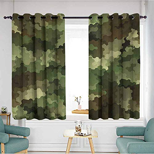 Custom Curtains,Camo Frosted Glass Effect Hexagonal Abstract Being Invisible Woodland Print,Insulated with Grommet Curtains for Bedroom,W55x72L,Green Pale Green and Brown