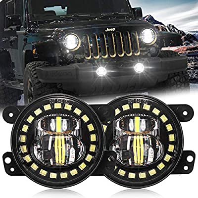 4 Inch Jeep Led Fog Light with White Halo Ring/Fog lights Projector Compatible with 2007-2020 Jeep Wrangler JK JKU TJ LJ Freedom Edition Fog Lamps - DOT Compliant: Automotive