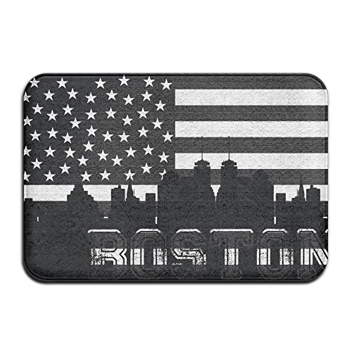 Pkdkcod Retro American Flag Boston City Non Slip Indoor Doormat For Home Office Clean Absorbent Antiskid Kitchen Bath Mats