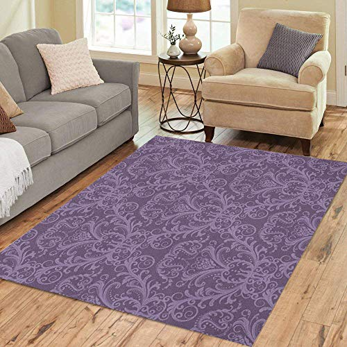 - Pinbeam Area Rug Pink Pattern Purple Floral Damask Vintage Classy Lavender Home Decor Floor Rug 3' x 5' Carpet