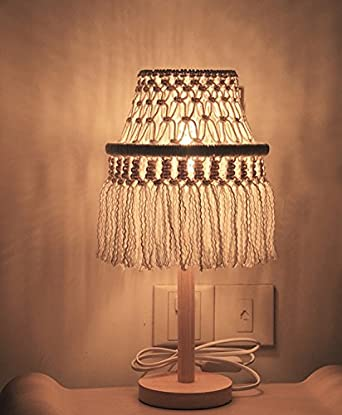 Attractive RISEON Boho Chic Bohemia Handmade Macrame Light Shade Geometrical Fringe  LED Desk Table Lamp Night Light