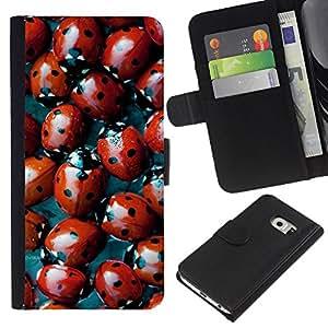 All Phone Most Case / Oferta Especial Cáscara Funda de cuero Monedero Cubierta de proteccion Caso / Wallet Case for Samsung Galaxy S6 EDGE // Red Bug Spots Pattern Nature