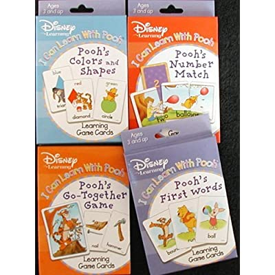 Disney Pooh 4 Deck Learning Flash Cards - Numbers, Colors, Matching & First Words: Toys & Games
