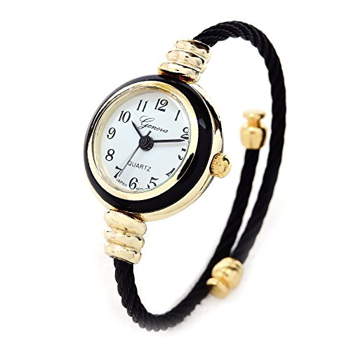 Black Gold Geneva Cable Band Women's Small Size Bangle Watch