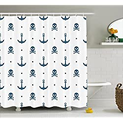 Ambesonne Skull Shower Curtain Anchor Decor, Anchors and Skeleton Crossbones Dots Pirate Horror Fear Seaman Nautical Design Art Print, Polyester Fabric Bathroom Set with Hooks, Navy Blue and White