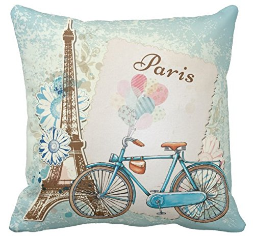 Cheap  Kissenday 18X18 Inch Popular Romantic Paris Bike Flower Cotton Polyester Decorative Home..