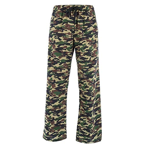 (boxercraft Men's Camouflage Print Flannel Pajama Pants, Large, Green)