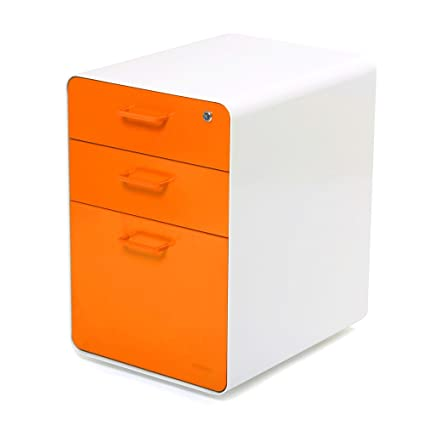 Charmant Poppin White + Orange Stow 3 Drawer File Cabinet, Available In 10 Colors,