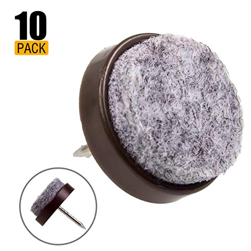 Felt Furniture Leg Pads, Nail in Furniture Feet Pad 50 pcs Set, Round Diam 0.79in (20mm), Floor Protectors to Protect Hardwood Floors and Carpet, Brown for Wood Chair, Table, Bed, and China Cabinet