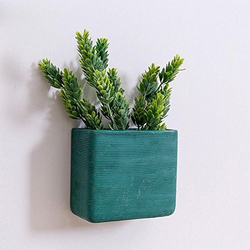 Creative Ceramic Geometry Vase Succulent Planter Wall Hanging Planter Wall Vase (Green-Square)
