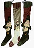 3 Rustic Country Christmas Holiday Stockings 30'' Hand Sewn, Embroidered, Dimensional, Velvet, Fleece