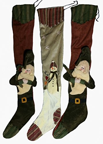 3 Rustic Country Christmas Holiday Stockings 30'' Hand Sewn, Embroidered, Dimensional, Velvet, Fleece by Creative Co-op (Image #1)