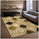 Superior Modern Viking Collection Area Rug, 10mm Pile Height with Jute Backing, Chic Textured Geometric Trellis Pattern, Anti-Static, Water-Repellent Rugs - Cream, 5' x 8' Rug