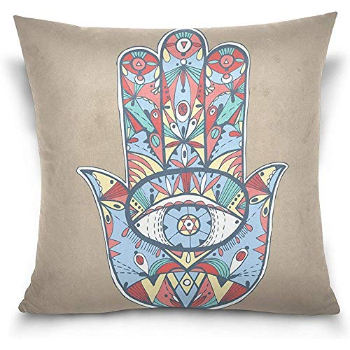Zhi Fan Home Décor Hand Drawn Boho Hamsa Pattern Decorative Throw Pillowcase Cushion Pillow Cover 18